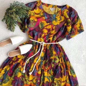 Vintage Psychedelic Floral Maxi Dress